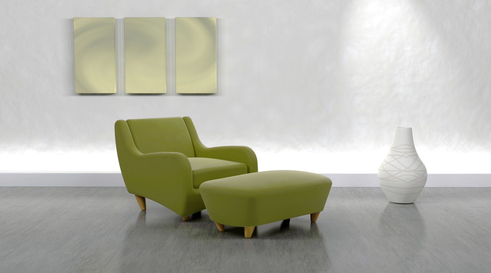 3d render of contemporary arm chair and ottoman in modern setting